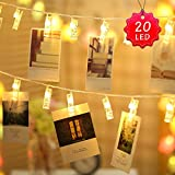 Clip LED luci a stringa - 20 LED Photo Peg Clip 2,2M Immagini appese Natale Star Light Birthday Party Wedding Valentine Decorative Photo Pendants Note