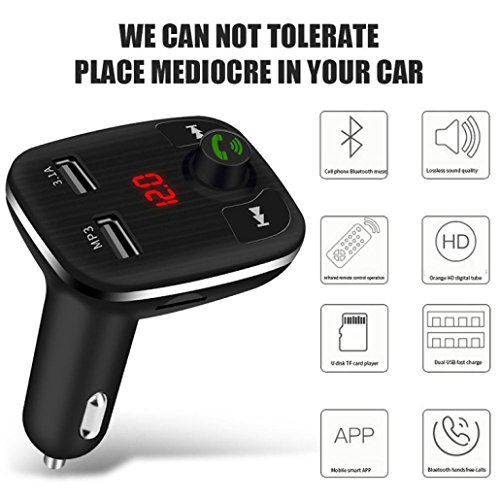 Xshuai Strukturelles Design Geräusche Beseitigung Bluetooth Car FM Transmitter Wireless Radio Adapter USB Ladegerät Mp3 Player Unterstützung Bluetooth Musik / TF Karte / U Festplatte Spieler (Schwarz) Schalten Sie Auto Drehen