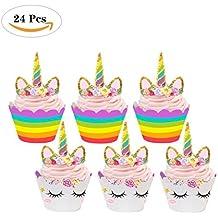 QWER Unicornio Cupcake Toppers + envolturas | Suministros Fiesta de Cumpleaños, la Decoración de la