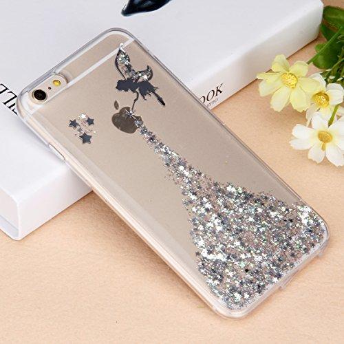 """Etsue Glitter Silikon Case für iPhone 6S/iPhone 6 4.7"""" TPU Case Schutzhülle, Glänzend Glitzer Sparkle Shiny Star Sterne Engel Mädchen Muster Silikon Crystal Case Clear Transparent Rückseite Schutzhüll Mädchen,Silver"""