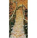 Textilposter Herbstlaub Herbst Brücke XXL Banner Poster aus Stoff ca 90 x 180 cm
