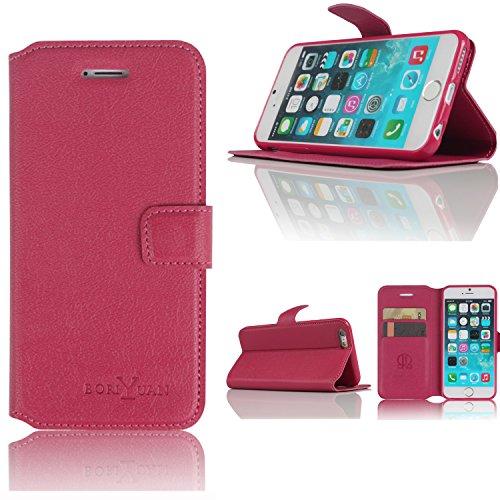 Boriyuan iPhone 6Wallet Custodia in pelle case portafoglio custodia in pelle per Apple Iphone con scomparti per carte, Pellicola protettiva schermo