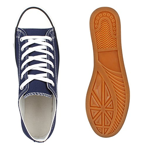Sportliche Herren Sneakers Low Turnschuhe Textil Schuhe Flats Marine Blau