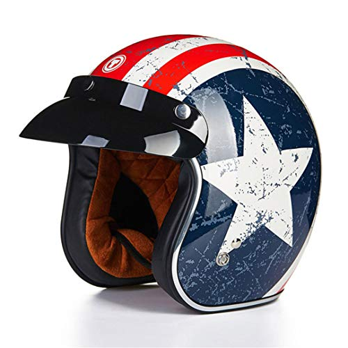 MetHlonsy Caschi Vintage Open Face Retro Lucky Scooter Halley Half Moto Captain America M
