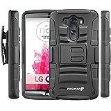 LG G3 funda - Fosmon STURDY Híbrido [choque absorción] pesado deber Duro Carcasa de con Soporte y pistolera para LG G3 - Fosmon empaquetado (Negro)