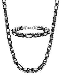 Idea Regalo - Sailimue Gioielli in Acciaio Inossidabile 8MM Collana Bracciale Set per Uomo Donna Collana Bizantina Collegamento Lunghe 56CM