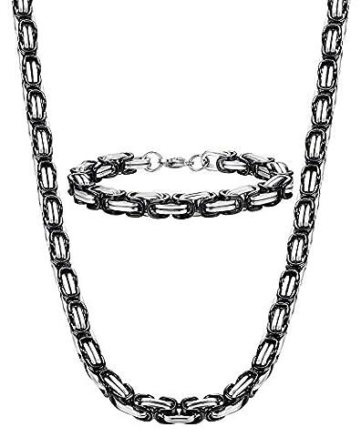Sailimue 8mm Acier Inoxydable Collier Bracelet Suite Chaîne Byzantine Noir Collier Punk 61CM
