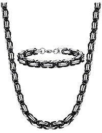 Sailimue 8mm Acier Inoxydable Collier Bracelet Suite Chaîne Byzantine Noir Collier Punk 56-76CM