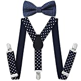 Best The Children's Place School Uniforms - Children Kids Braces Bow tie set- Adjustable elastic Review