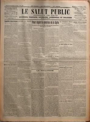 SALUT PUBLIC (LE) N? 256 du 13-09-1919 SYMPATHIES TCHECO-SLOVAQUES - AU JOUR LE JOUR- ADIEU A LA VIE CHERE PAR CHABLY - AUTOUR DU TRAITE - POUR REGLER LA QUESTION DE LA SYRIE - PROCHAINE ENTREVUE DE MM LIOYD GEORGE CLEMENCEAU ET DU GENERAL ALLENBY - LES DESORDRES EN IRLANDE - LA SITUATION - LE CHARBON BELGE - LE CARTEL ALLEMAND DE L'ACIER - LE MARCHE MONDIAL DE LA VIANDE - L'EXODE DE NOTRE MONNAIE - QUELQUES VERITES A REPANDR
