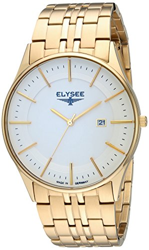 ELYSEE Men's Diomedes II 42mm Gold-Tone Steel Bracelet Gold Plated Case Quartz Analog Watch 83016