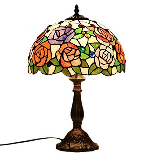 Y&HY Tiffany Stil handgemachte Tischlampe, europäischen Glas Lampenschirm Leselampen Wohnzimmer Schreibtisch Lichter (Rose)