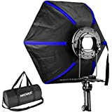 Neewer Professional Hexagonal Softbox Collapsible Diffuser 20 Inches/50 Centimeters With Handle Grip For Speedlight Flash For Studio Portrait And Product Photography (Black/Blue)