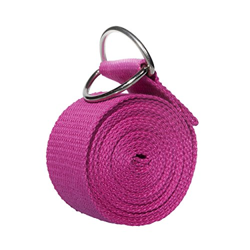 Yoport Yoga Gurt Yogagurt Yoga Gürtel–Beste für Stretching–8ft Lang–strapazierfähiger Baumwolle mit Metall D-Ring, rosarot