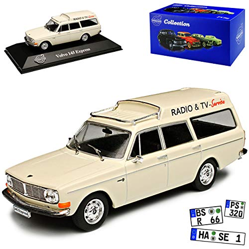 Atlas Volvo 145 Express Weiss Radio und TV Service Kombi 1966-1974 1/43 Modell Auto 142 Tv