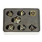 JOYFAY Set dadi DND- 7 dadi metallici con rivestimento in lega di zinco, smalto nero e accenti dorati, dadi poliedrici, perfetti per giochi di ruolo (RPG), D4, D6, D8, D10, D10 percento, D12 e D20
