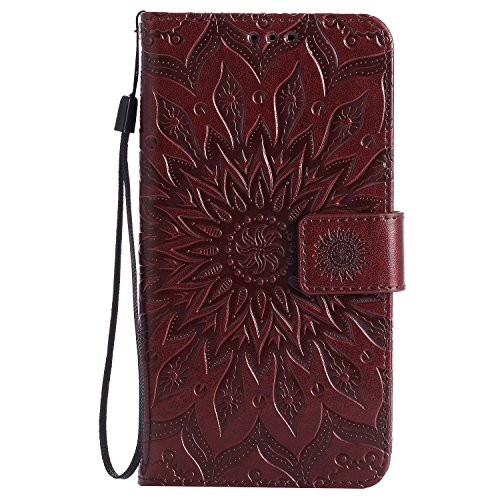 NEXCURIO [Embossed Flower] Moto G4 / G4 Plus Wallet Case with Card Holder Folding Kickstand Leather Case Flip Cover for Motorola Moto G 4th Generation/Moto G4 Plus (Brown)