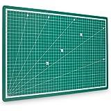 PRETEX tapis de découpe premium 45x30 cm (A3) en vert avec surface d'auto-guérison | 2 ans de garantie de satisfaction | tapis de découpe, tapis de coupe