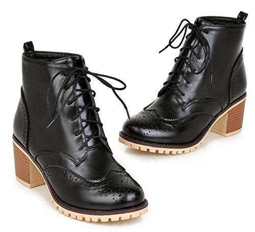 4ca22e71fc89cb ... YE Damen Chunky Spitze High Heels Brogue Retro Stiefeletten mit Plateau  Bequeme Blockabsatz Schnürung 6cm Absatz ...