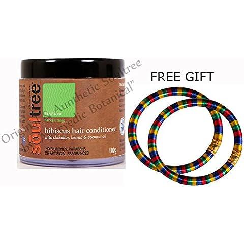 soultree hibisco pelo acondicionado con Shikakai, Henna y aceite de coco 100g–con libre regalo (par de pulseras Multicolor) y envío gratuito