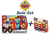 Feuerwehrmann Sam Feuerwehrauto Bade-Set + Badeschwamm baden Duschgel Spielzeug Badefizzer