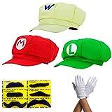 thematys Super Mario Mütze Luigi Wario - Kostüm-Set für Erwachsene & Kinder + 3X Handschuhe und 6X Klebe-Bart - perfekt für Fasching, Karneval & Cosplay - Klassische Cappy Cap