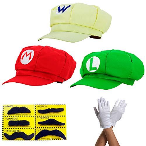 thematys Super Mario Mütze Luigi Wario - Kostüm-Set für Erwachsene & Kinder + 3X Handschuhe und 6X Klebe-Bart - perfekt für Fasching, Karneval & Cosplay - Klassische Cappy ()