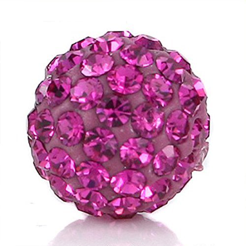 Clay Beads 10MM Fuchsia Pink Pave Czech Crystal Rhinestones fit Shamballa Premium Quality - 20pcs DIY By eART by eART ()