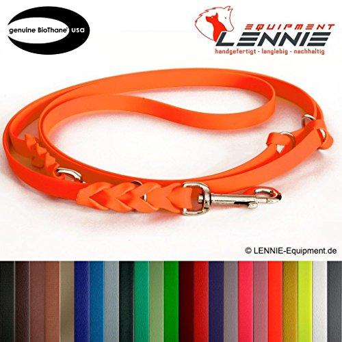 Mehrfach verstellbare Führleine aus 19 mm breiter BioThane® / 1,75 - 5 Meter [3 m] / 25 Farben [Neon-Orange] / geflochten