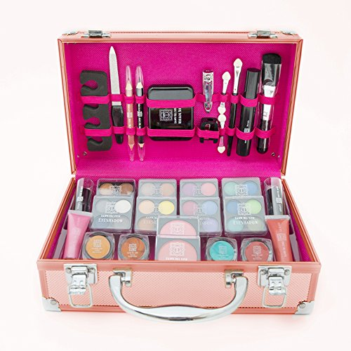 Dawn Till Dusk 54pc Pro Cosmetic Rose Gold Makeup Vanity Beauty Travel Gift Storage Case Set