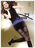 Gatta Fashion Loretta 92-50den - sexy blickdicht, gemusterte Strumpfhose mit gestreiftem Fantasieprintmuster - Größe 3-M - Schwarz
