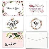 Carte di ringraziamento Set di 30 Scheda di Scheda PCS assortiti con 5 disegni floreali Cartolina d'auguri vuota e 30 Adesivo Bianco