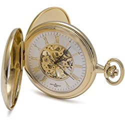 Bouverat 1919 Double Opening Polished Case Half Hunter Mechanical Skeleton Pocket Watch with White Dial BV824104