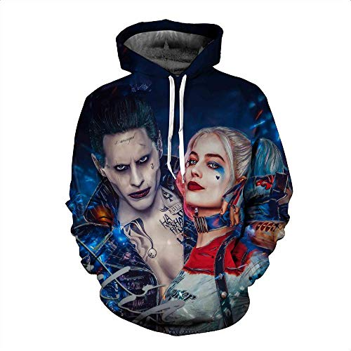 Xdai 3D Herren-Sweatshirt Hoodie Kapuzenpullover Atmungsaktives Weich Lange Ärmel Polyester 0.5KG Harley Quinn 2XL (Harley Hoodie Quinn)