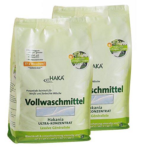 HAKA Vollwaschmittel I 2X 3kg Waschpulver I Universalwaschmittel für weiße, farbechte Textilien I 77 Waschladungen pro Beutel