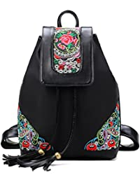 Abaría - Mochilas tipo casual con bordados flores bolso mujer universidas mochilas escolar chica de Impermeable