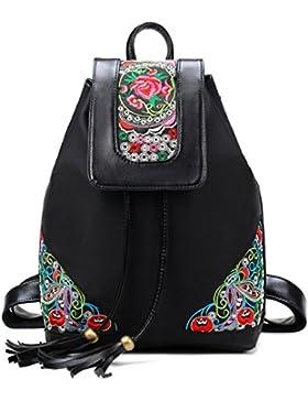 Amoyie Klassische Rucksackhandtaschen mit Stickerei, Leder und Nylon Freizeitrucksack Schwarz, Mädchen Damen Taschen...