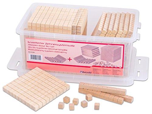 Betzold 86891 - Dienes-Material Mathe-Set Zehnersystem-Satz erweitert - Mathematik Rechnen Zahlen Lernen Kinder Holz-Würfel