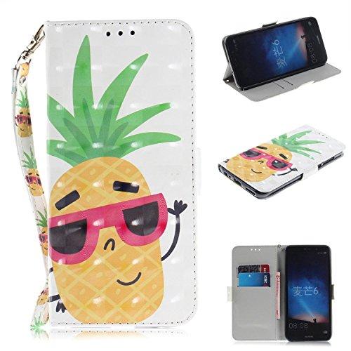 Cozy Hut Huawei Mate 10 Lite Hülle, PU Leder Tasche mit Intern Karte Schlitz, Magnetic Closure mit Standfunktion und Handy Gürtel Schutzhülle für Huawei Mate 10 Lite - Sonnenbrille Ananas