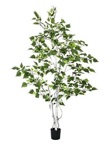 artplants – Künstliche Weißbirke mit 530 Blättern, getopft, 150 cm – Deko Birken Baum/Kunstbaum