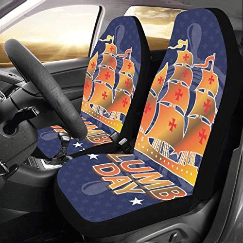 Zemivs Happy Columbus Day Segeln Meer Schiff Schwimm Custom Universal Fit Auto Drive Autositzbezüge Protector Für Frauen Automobil Jeep LKW SUV Fahrzeug Full Set Zubehör Für Erwachsene Baby Set Von 2 (Seat Covers Custom Chevy)