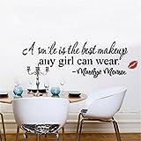 Homgaty Bett/Plüschhütte Marilyn Monroe 'The Best Is A Smile Makeup, Vinyl, für Wohnzimmer/Büro, Zuhause, Kindergärten Decoration- sich perfekt als Geburtstags- und Weihnachtsgeschenk
