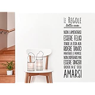 adesivo4you ® Wall Sticker for Decorating the House-The Rules Of The House-Phrases-Aforismos, black