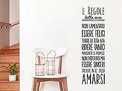 Idea Regalo - Adesivo4You ®ADESIVI MURALI PER LA CASA WALL STICKERS REGOLE DELLA CASA STICKER FRASE AFORISMA ADESIVO MURALE (LARGE 120 X 45 CM.)