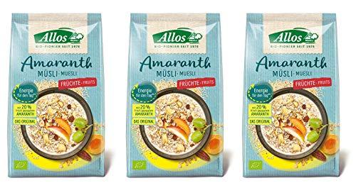 Allos Vita Korn Amaranth Früchte Müsli, 3er Pack (3 x 375 g)