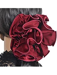 Elegant Lady Large Hair Clip Chiffon Ruffle Hair Claw Wedding Party Accessary F807 (Claret)