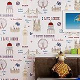 Englisch Tapetenrolle Für Baby Zimmer Schöne Handgemalte Tapeten Kinder Wandpapier Wandbild Nicht Gewebt Tapeten Für Jungen Zimmer Hellblau 0,53X10 Mt