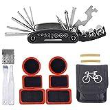 iBuger acciaio inossidabile Mini utensili multiuso bicicletta riparazione strumenti Kit 16 in 1 multifunzione di attrezzi per bicicletta, con chiavi e cacciaviti ripiegabili