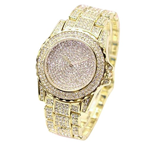 Frauen Luxus Quarz Diamanten Uhren,Hevoiok Mode Damen Zeitloses Glasquarz Armbanduhr (Gold)