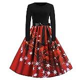 Xmiral Weihnachten Kleid Damen Elegant Vintage Xmas Print Langarm Abend Party Kostüm (L,Rot3)